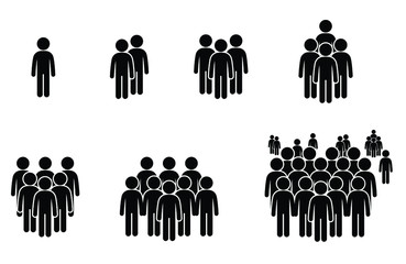 People icons stick figure group, community and social