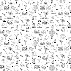 Travel doodle pattern. Seamless vector backdrop. Simple vector illustrations on white transparent background