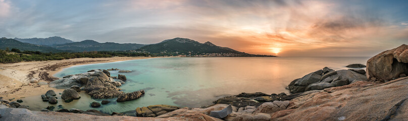 Fototapeten Südeuropa Sunset over beach and village of Algajola in Corsica