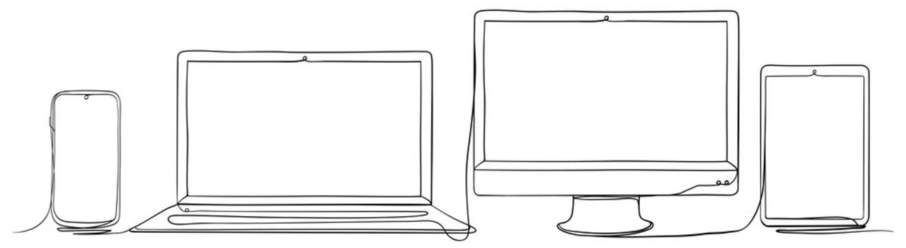 Mobile Phone, Laptop, Computer Monitor and Tablet PC. Hand Drawn Continuous Line Art Vector Illustration.