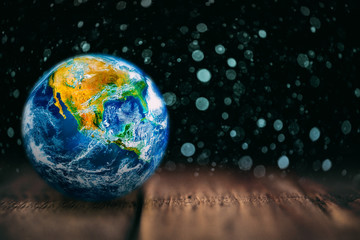 Wall Mural - View of the earth from the moon on the wood. Elements of this image furnished by NASA