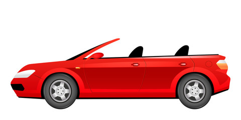 Photo sur Aluminium Cartoon voitures Red cabriolet cartoon vector illustration. Fashionable summer car without roof flat color object. Stylish crimson automobile side view. Luxurious personal vehicle isolated on white background