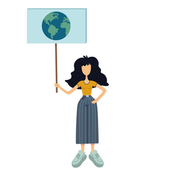 Zero waste flat cartoon vector illustration. Woman holds banner with globe. Environment protection. Earth day. Ready to use 2d character template for commercial, printing design. Isolated comic hero