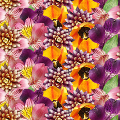 Fototapete - Beautiful floral background of guzmania, tulip and alstroemeria. Isolated