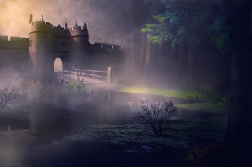 castle in fog