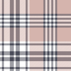 Plaid pattern background. Seamless check plaid graphic in grey, pink, and white for scarf, blanket, throw, upholstery, duvet cover, or other modern spring, autumn, and winter fabric design.
