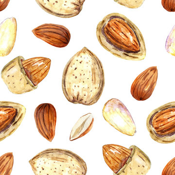 Watercolor pattern with almond nuts