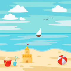 Vector cartoon beach scene with sand castle, bucket, shovel and beach. Summer vacation.