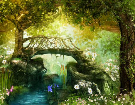 Magical fairy tale forest with an enchanting bridge over a brook
