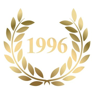 Year 1996 gold laurel wreath vector isolated on a white background