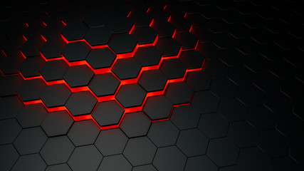 Fototapeta Abstract background of black hexagons obraz