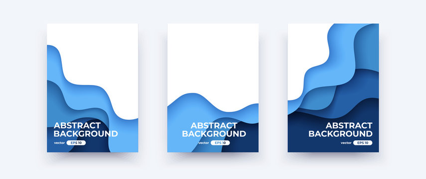 Abstract paper cut waves covers. Vertical banners, brochures, posters. Water template. Simple realistic design. Beautiful background. Flat style vector eps10 illustration. Blue color.