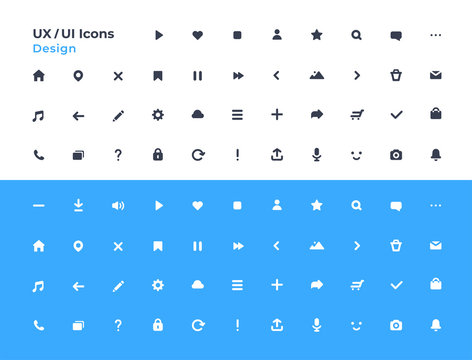 UI icons set. Vector. For mobile, web, social media, business. User interface elements for mobile app. Simple modern design. Flat style eps10 illustration.