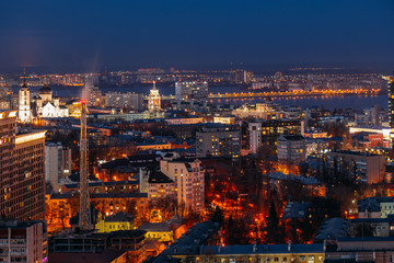 Poster London Night Voronezh downtown skyline, aerial view from rooftop