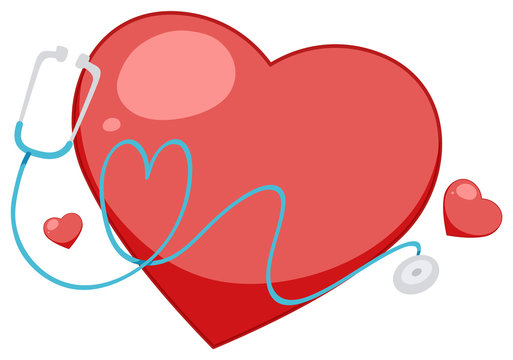 Big red heart with giant stethoscope on white background