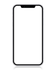 Smartphone copy iphone X, XS, iphone 10,  with blank screen isolated on white background.  Vector eps10 illustration