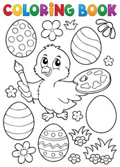 Photo sur Plexiglas Enfants Coloring book Easter eggs and chicken 1