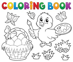 Canvas Prints For Kids Coloring book Easter theme with chicken
