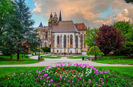 Amazing view of Freedom square with flowerbed, Michael chapel and St. Elisabeth cathedral in Kosice, Slovakia