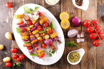 Wall Mural - grilled vegetable and dip- healthy barbecue