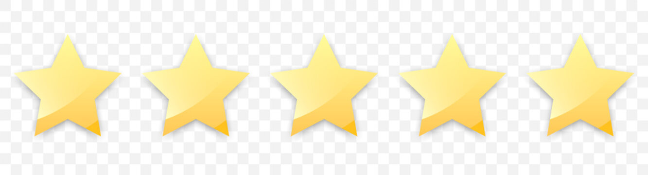 Five golden stars with shadow for review of product rating on a transparent background, for web sites and mobile applications. Vector illustration EPS10