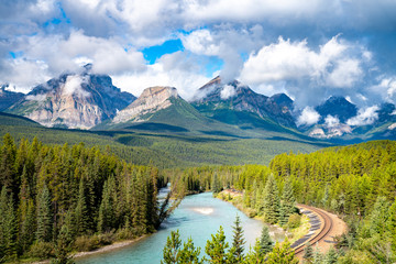 Morant's Curve, famous landscape with railway. Banff National Park, Canada Wall mural