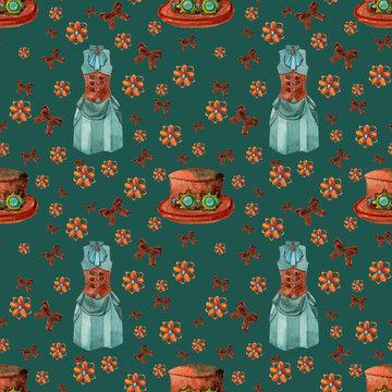 Seamless pattern with stimpunk dress and hat.