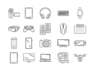 Gadgets black line icons set. Electronic devices. Designed to facilitate and improve human life. Pictogram for web page, mobile app, promo. UI UX GUI design element. Editable stroke.