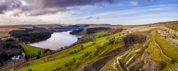 Fototapeta Pontsticill Reservoir on the Taf Fechan river, partly in the county of Powys and partly in the county borough of Merthyr Tydfil, South Wales, UK obraz