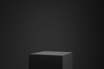 Black podium or pedestal display on dark background with cube platform. Blank product shelf standing backdrop. 3D rendering. Fotobehang
