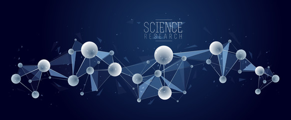 Molecules vector abstract background, 3D dimensional science chemistry and physics theme design element, atoms and particles micro nano scientific illustration.