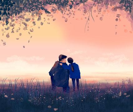 illustrazione padre e figlia per la festa del papà. Sfondo tramonto e natura. Acquarello