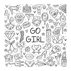 Foto auf AluDibond Boho-Stil Go girl cute cartoon hand drawn doodle vector clip art, stickers, icons, set of design elements. Line art drawings design. Isolated on white background. Feminist symbols. Women's day. Women`s rights.