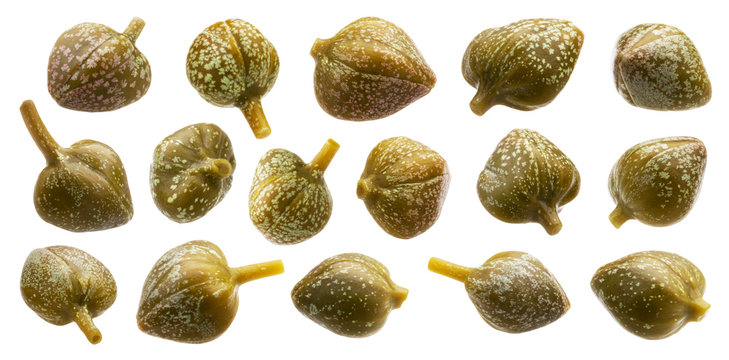 Pickled capers isolated on white background