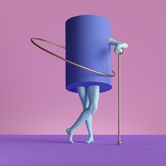 3d render, abstract minimal surreal contemporary art. Geometric concept, violet cylinder, blue legs isolated on pink background. Modern fashion composition, visual illusion, funny freak performance