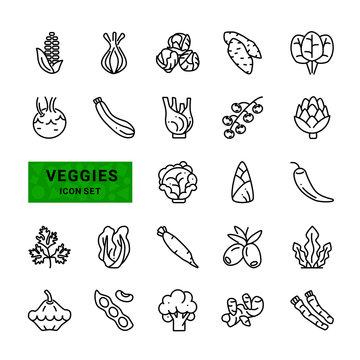 Veggies icon set