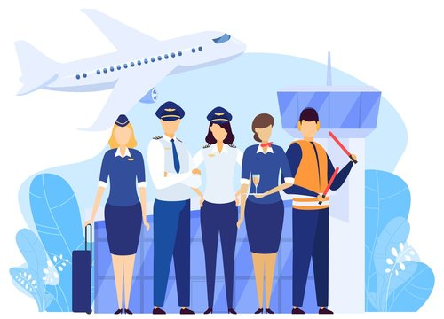 Airport crew standing together, professional airline team in uniform, vector illustration. Airplane pilot and flight attendant cartoon characters, captain and stewardess, airport service people