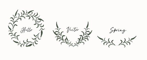 Fototapeten Boho-Stil Hand drawn floral wreath, monograms.