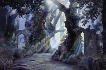 into the deep woods, atmospheric landscape with archway and ancient trees, misty and foggy mood