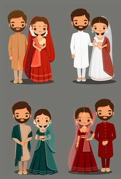 cute Indian couple cartoon in traditional dress vector for wedding invitation card design