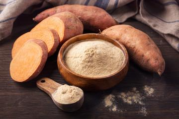 Sweet potato flour in a wooden bowl