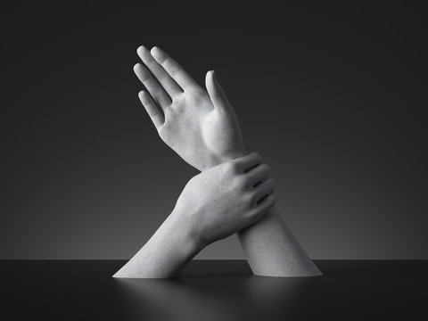 3d render, sign language, mannequin hands isolated on black background. Limitation or force or arrest metaphor. Modern minimal concept, simple clean design. Concrete sculpture. Artificial human limb