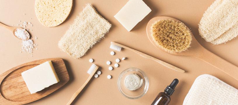 Bath natural accessories and skin care cosmetics, zero waste theme
