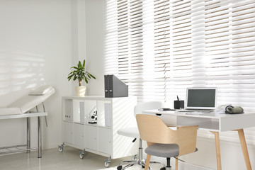 Doctor's office interior with modern workplace in clinic