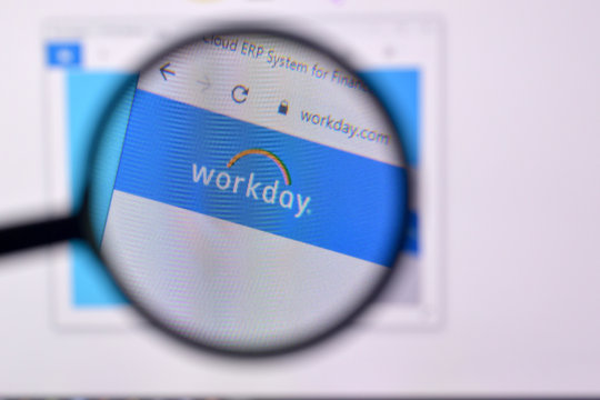 Homepage of workday website on the display of PC, url - workday.com.