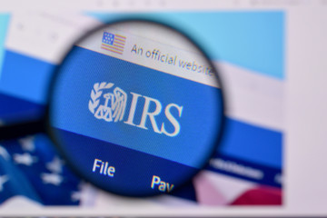 Homepage of internal revenue service website on the display of PC, url - irs.gov.