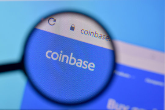 Homepage of coinbase website on the display of PC, url - coinbase.com.