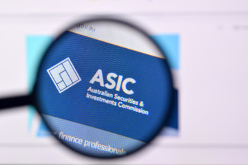 Homepage of asic website on the display of PC, url - asic.gov.au.