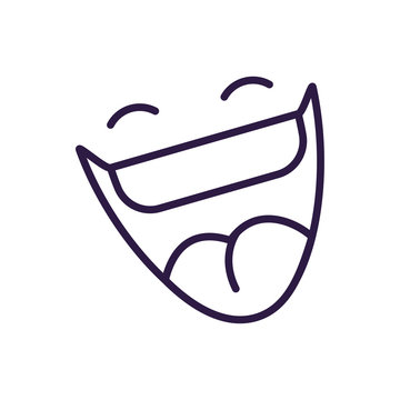 cartoon mouth laughing, line style icon