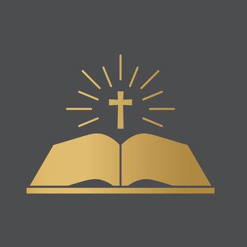 open bible book icon- vector illustration